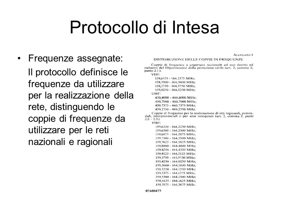 Protocollo di Intesa Frequenze assegnate: