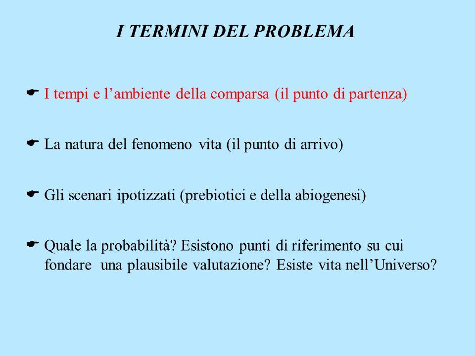 I TERMINI DEL PROBLEMA I tempi e l'ambiente della comparsa (il punto di partenza) La natura del fenomeno vita (il punto di arrivo)