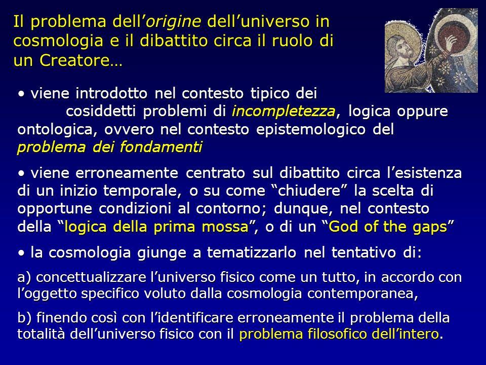 Il problema dell'origine dell'universo in cosmologia e il dibattito circa il ruolo di un Creatore…