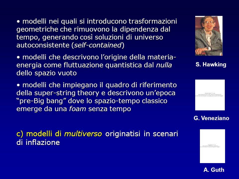 c) modelli di multiverso originatisi in scenari di inflazione