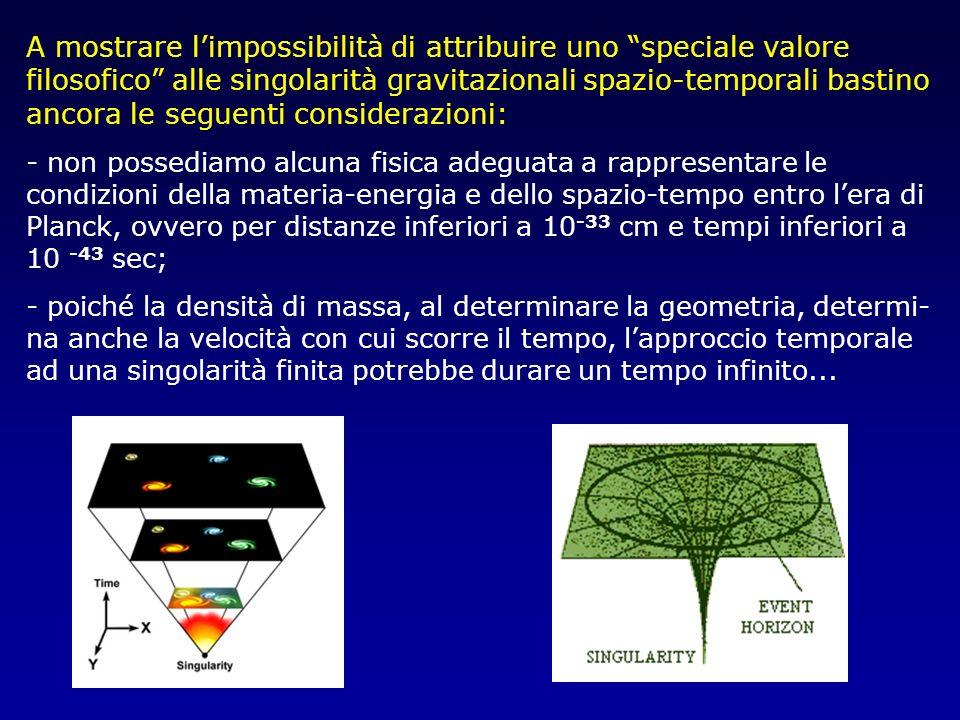 A mostrare l'impossibilità di attribuire uno speciale valore filosofico alle singolarità gravitazionali spazio-temporali bastino ancora le seguenti considerazioni: