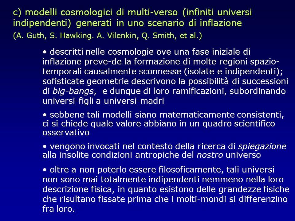 c) modelli cosmologici di multi-verso (infiniti universi indipendenti) generati in uno scenario di inflazione