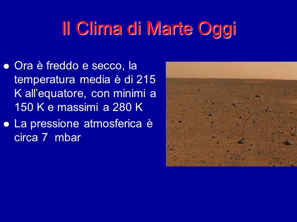 Il Clima di Marte Oggi Ora è freddo e secco, la temperatura media è di 215 K all'equatore, con minimi a 150 K e massimi a 280 K.