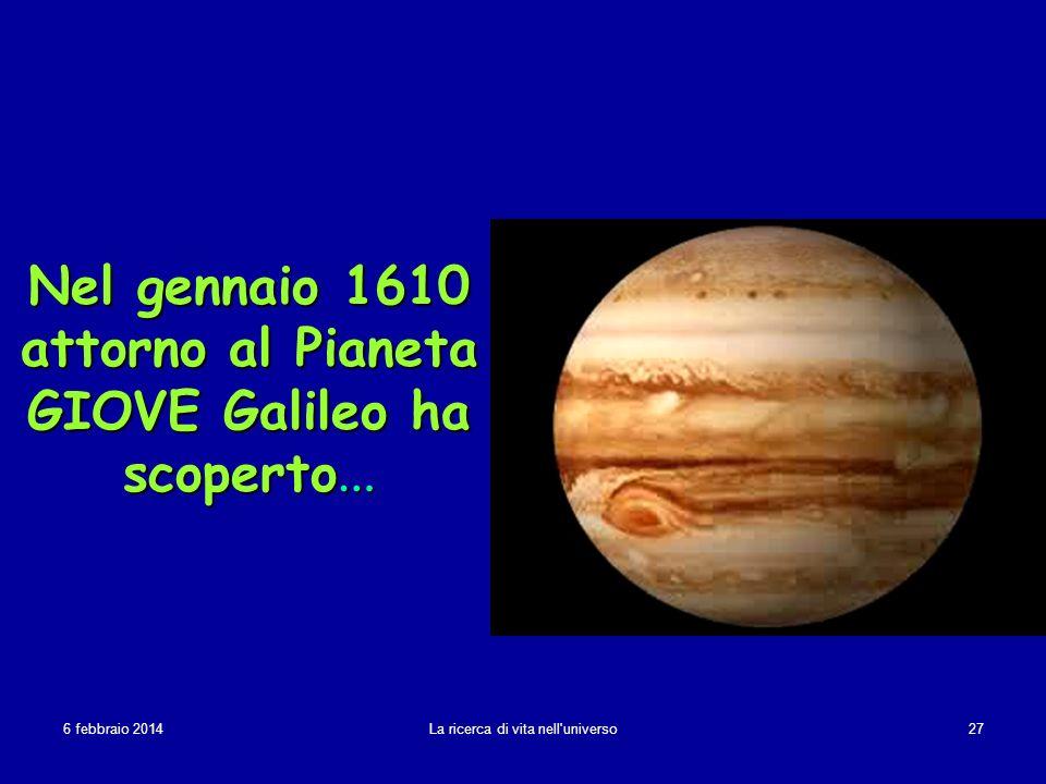 Nel gennaio 1610 attorno al Pianeta GIOVE Galileo ha scoperto…