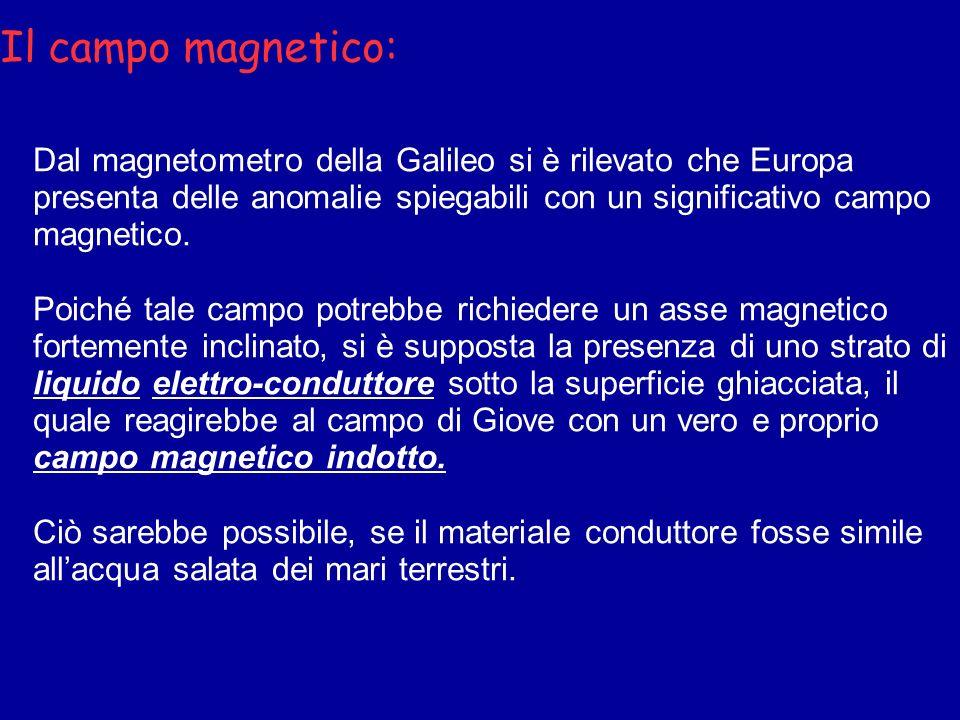 Il campo magnetico:Dal magnetometro della Galileo si è rilevato che Europa presenta delle anomalie spiegabili con un significativo campo magnetico.