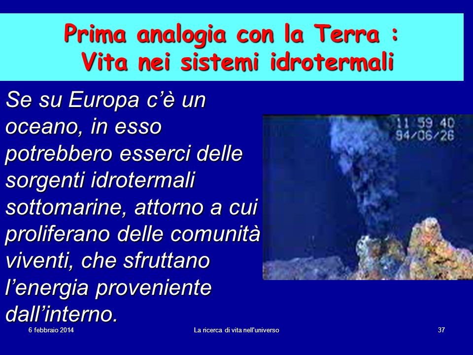 Prima analogia con la Terra : Vita nei sistemi idrotermali