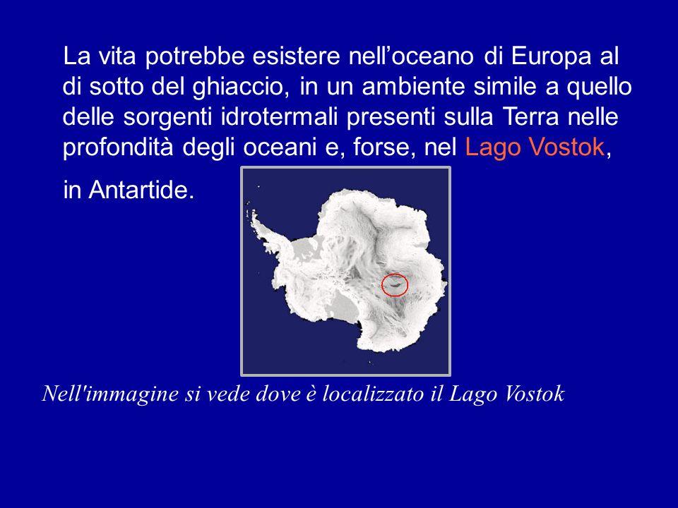 La vita potrebbe esistere nell'oceano di Europa al di sotto del ghiaccio, in un ambiente simile a quello delle sorgenti idrotermali presenti sulla Terra nelle profondità degli oceani e, forse, nel Lago Vostok,
