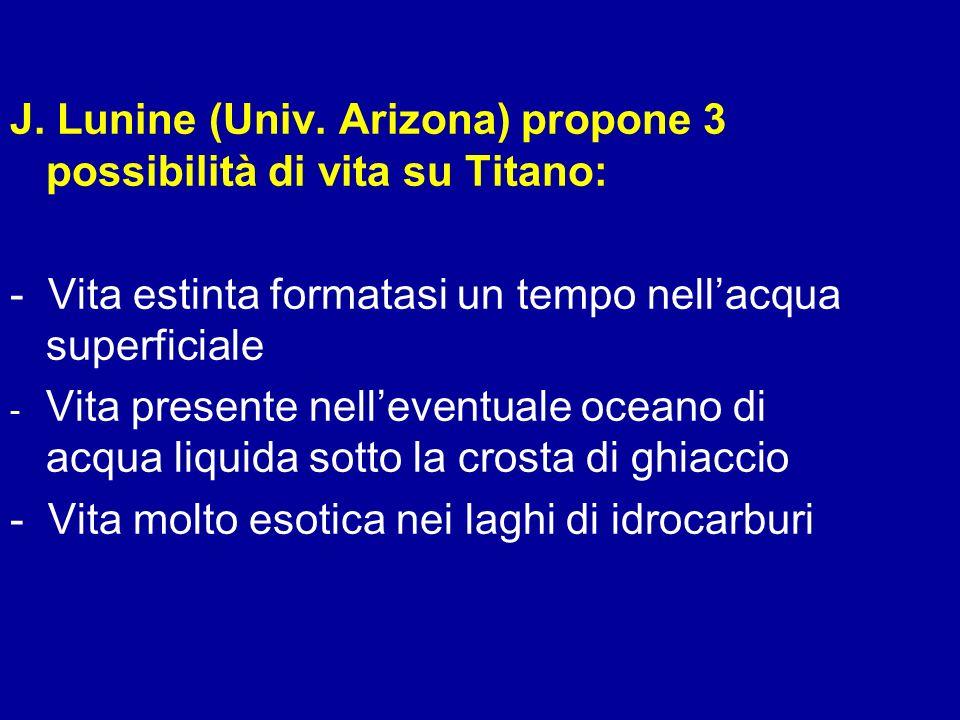 J. Lunine (Univ. Arizona) propone 3 possibilità di vita su Titano: