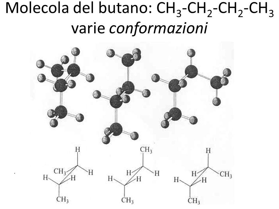 Molecola del butano: CH3-CH2-CH2-CH3 varie conformazioni