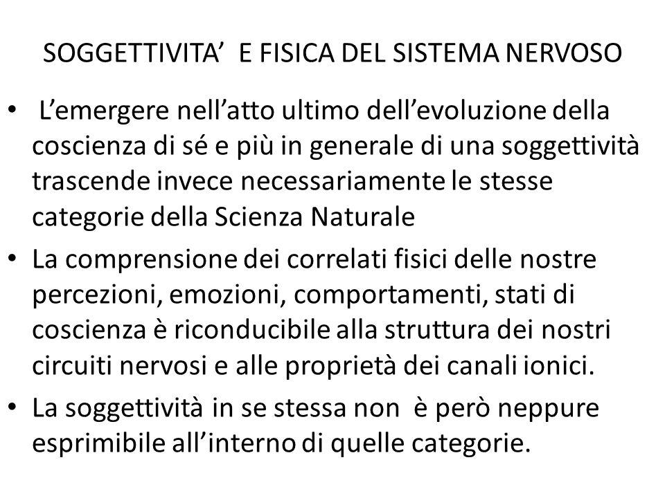 SOGGETTIVITA' E FISICA DEL SISTEMA NERVOSO