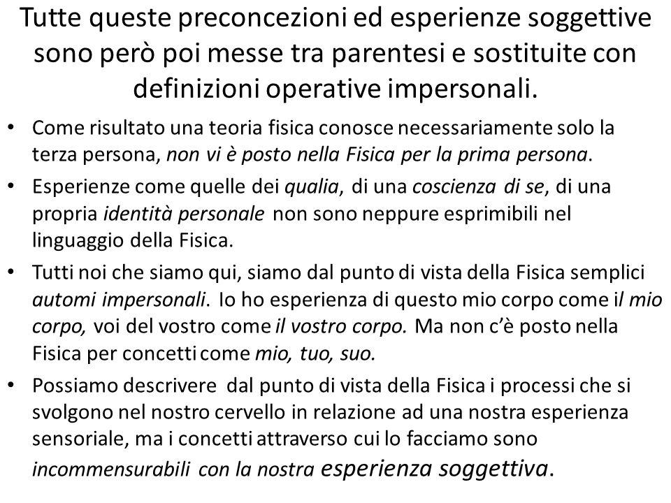 Tutte queste preconcezioni ed esperienze soggettive sono però poi messe tra parentesi e sostituite con definizioni operative impersonali.