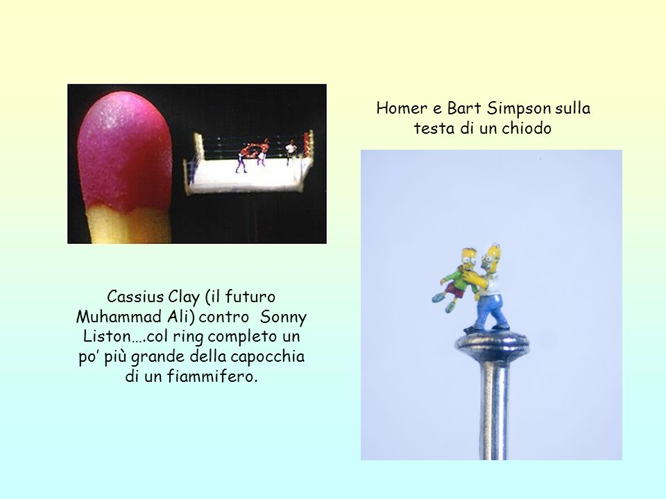 Homer e Bart Simpson sulla testa di un chiodo