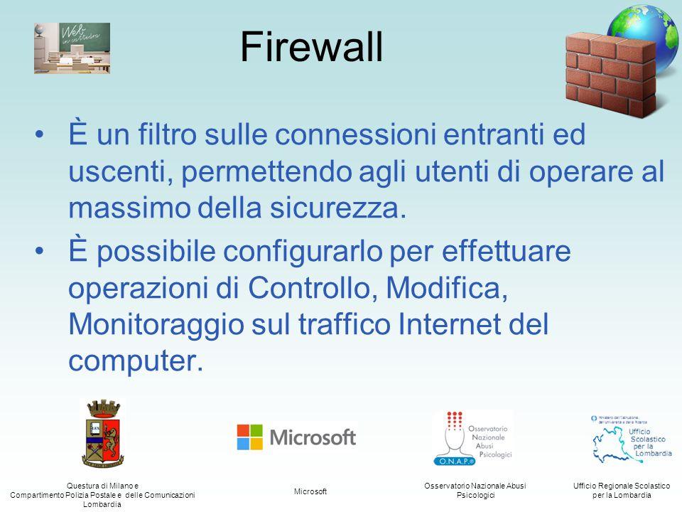 Firewall È un filtro sulle connessioni entranti ed uscenti, permettendo agli utenti di operare al massimo della sicurezza.