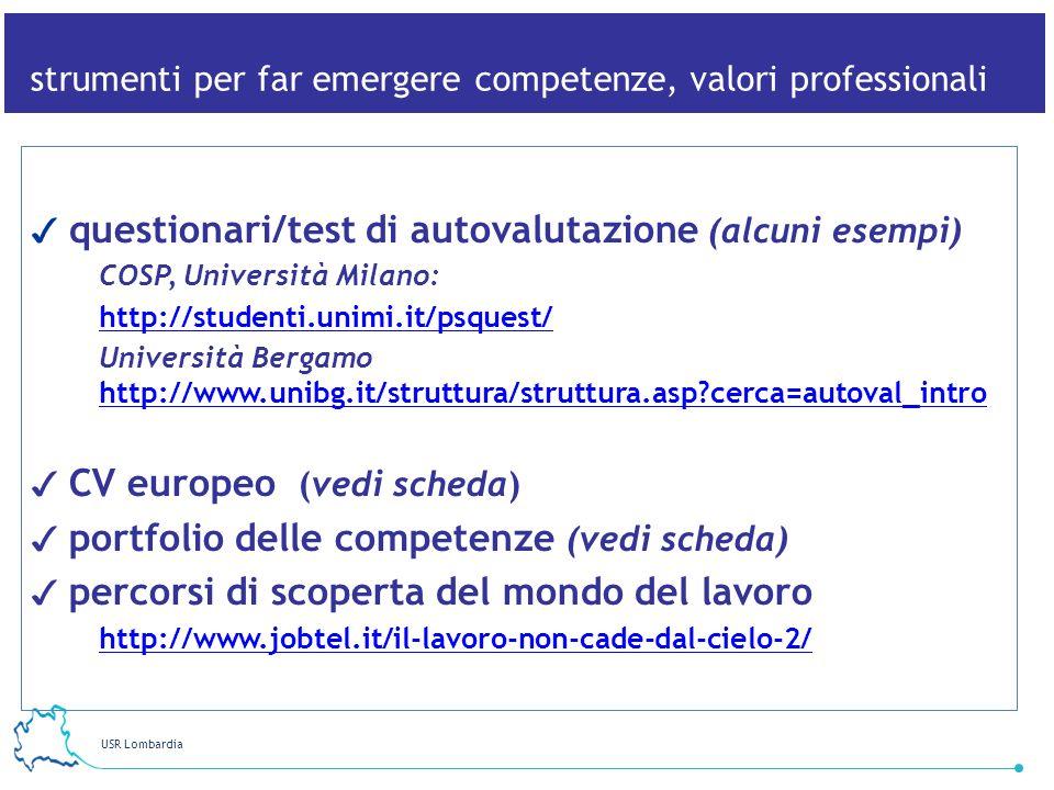 strumenti per far emergere competenze, valori professionali