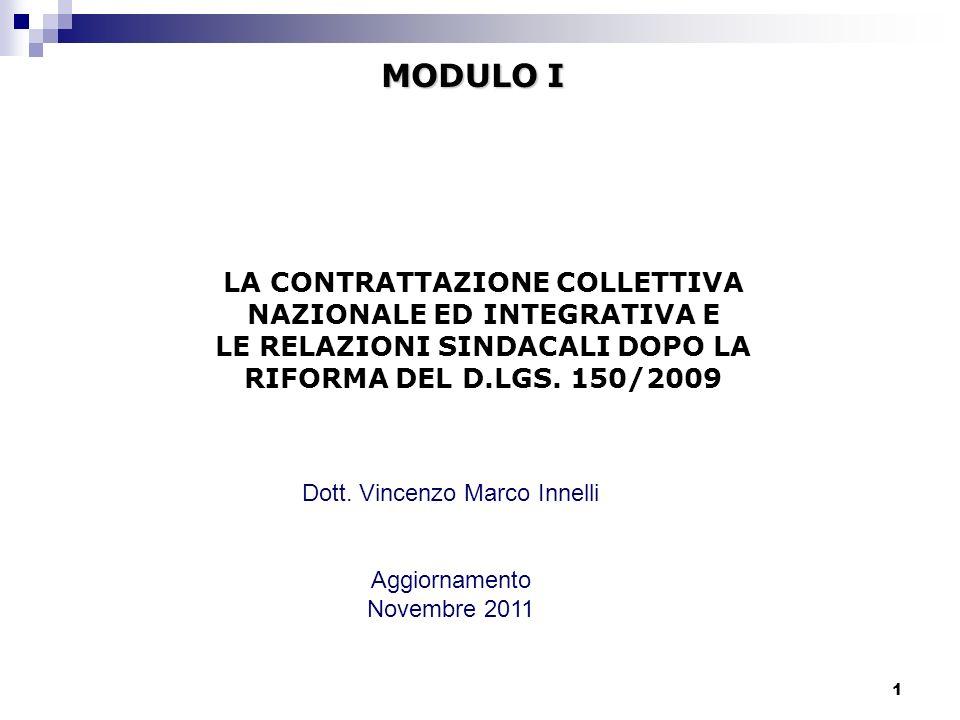MODULO I LA CONTRATTAZIONE COLLETTIVA NAZIONALE ED INTEGRATIVA E