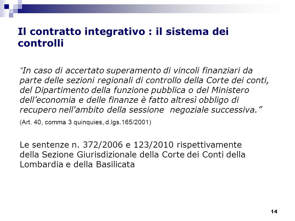 Il contratto integrativo : il sistema dei controlli
