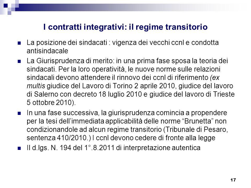 I contratti integrativi: il regime transitorio
