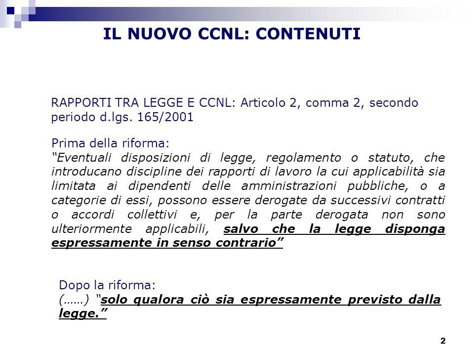 IL NUOVO CCNL: CONTENUTI