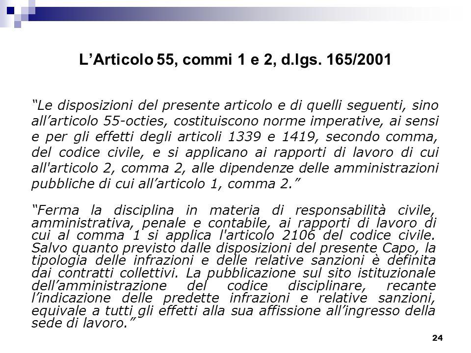 L'Articolo 55, commi 1 e 2, d.lgs. 165/2001
