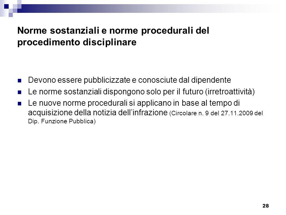 Norme sostanziali e norme procedurali del procedimento disciplinare
