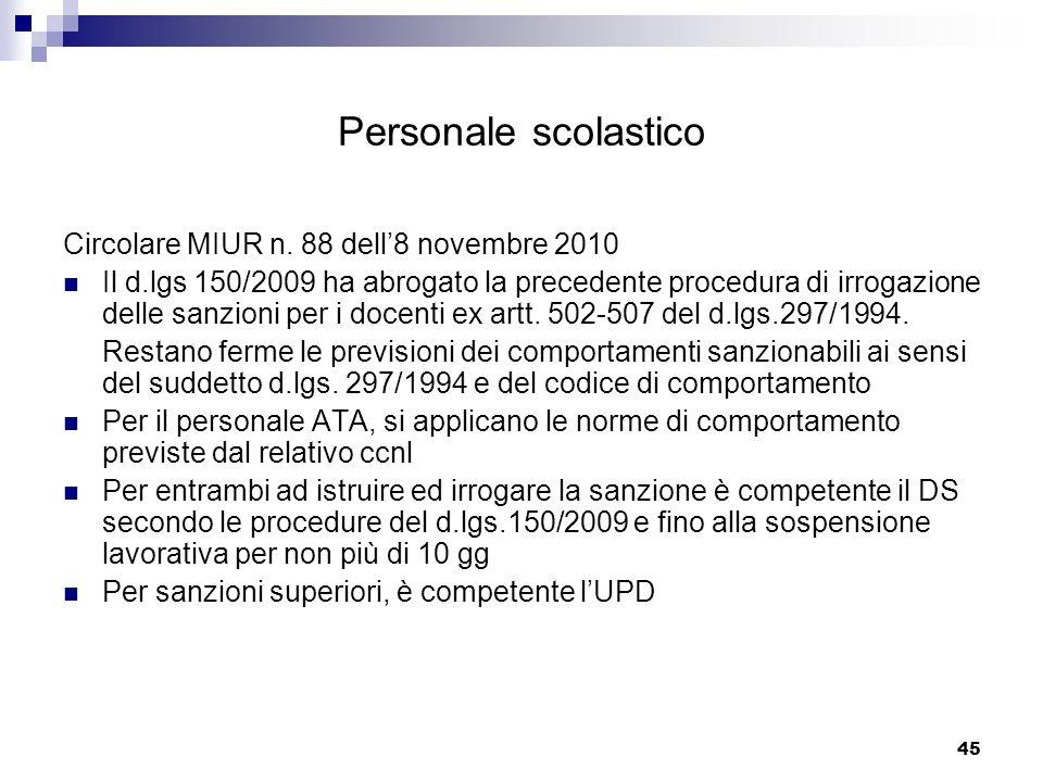 Personale scolastico Circolare MIUR n. 88 dell'8 novembre 2010