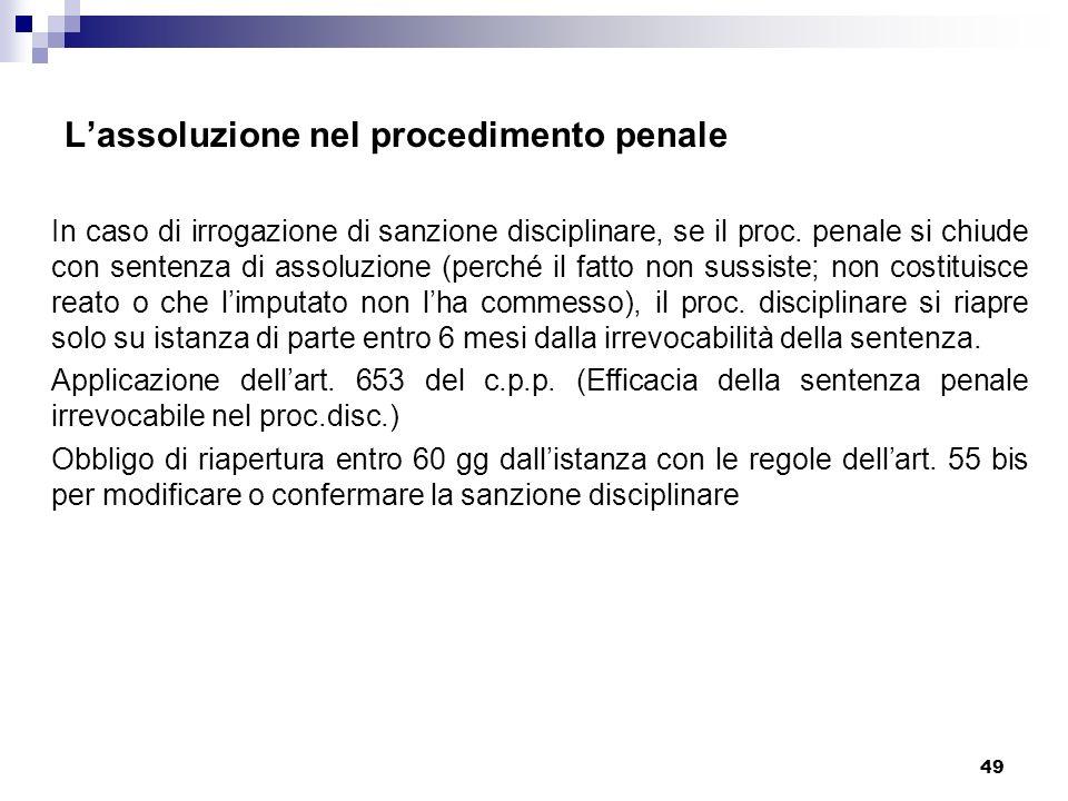 L'assoluzione nel procedimento penale