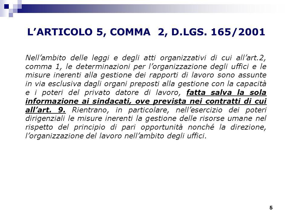 L'ARTICOLO 5, COMMA 2, D.LGS. 165/2001