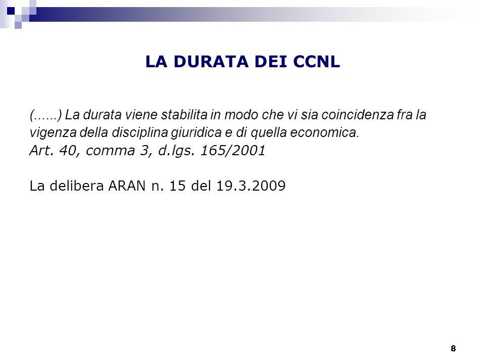 LA DURATA DEI CCNL (......) La durata viene stabilita in modo che vi sia coincidenza fra la.