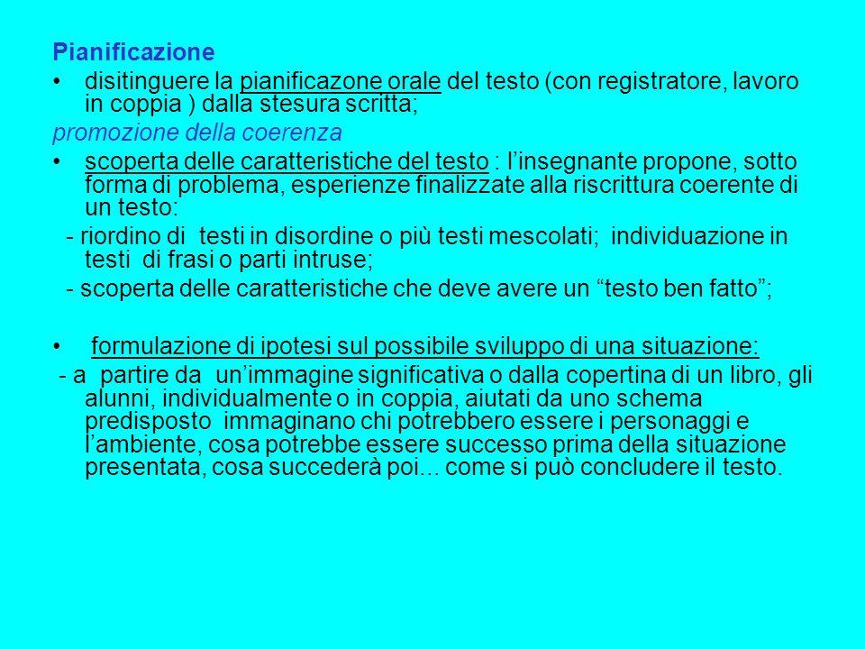 Pianificazione disitinguere la pianificazone orale del testo (con registratore, lavoro in coppia ) dalla stesura scritta;
