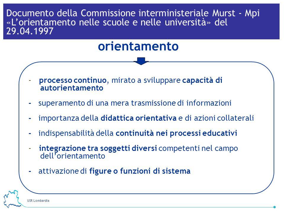 Documento della Commissione interministeriale Murst - Mpi «L'orientamento nelle scuole e nelle università» del 29.04.1997