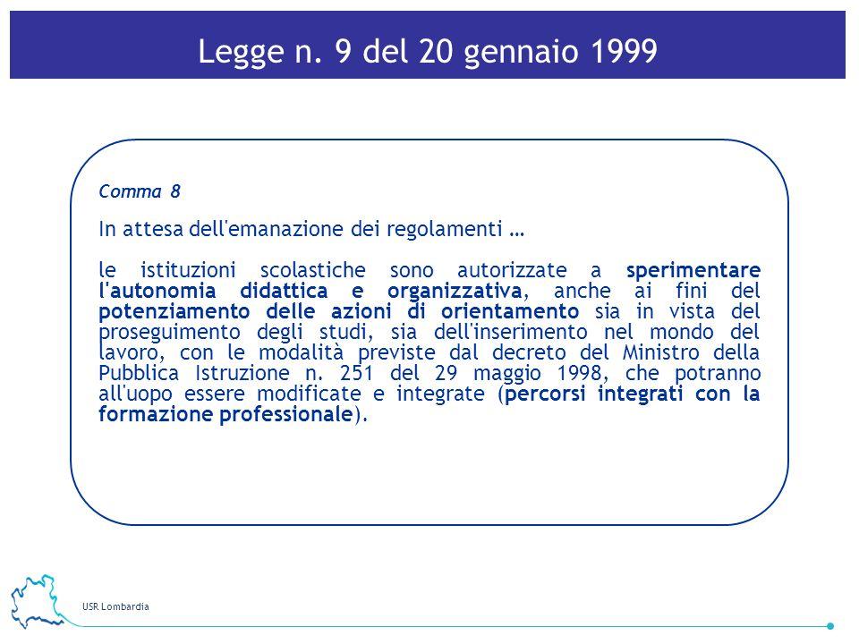 Legge n. 9 del 20 gennaio 1999Comma 8. In attesa dell emanazione dei regolamenti …