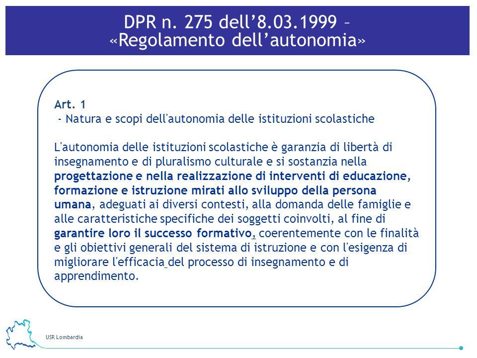 DPR n. 275 dell'8.03.1999 – «Regolamento dell'autonomia»