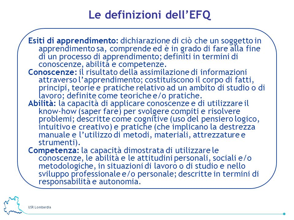 Le definizioni dell'EFQ