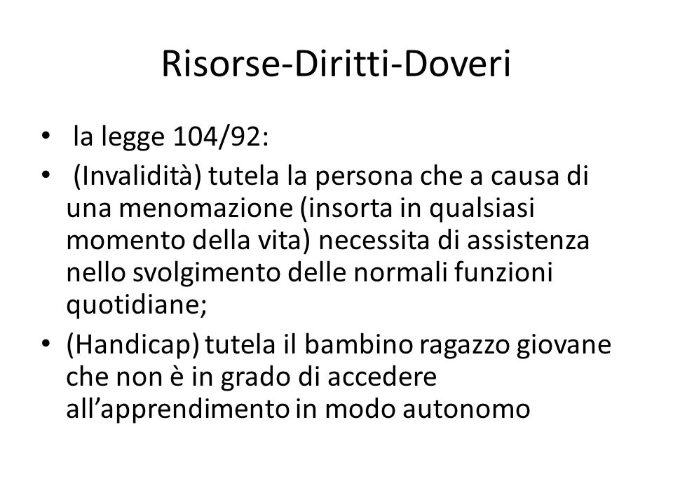 Risorse-Diritti-Doveri