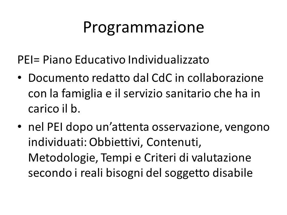 Programmazione PEI= Piano Educativo Individualizzato