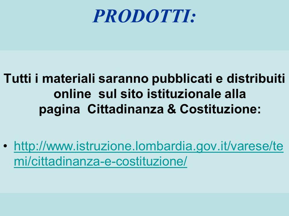PRODOTTI:Tutti i materiali saranno pubblicati e distribuiti online sul sito istituzionale alla pagina Cittadinanza & Costituzione:
