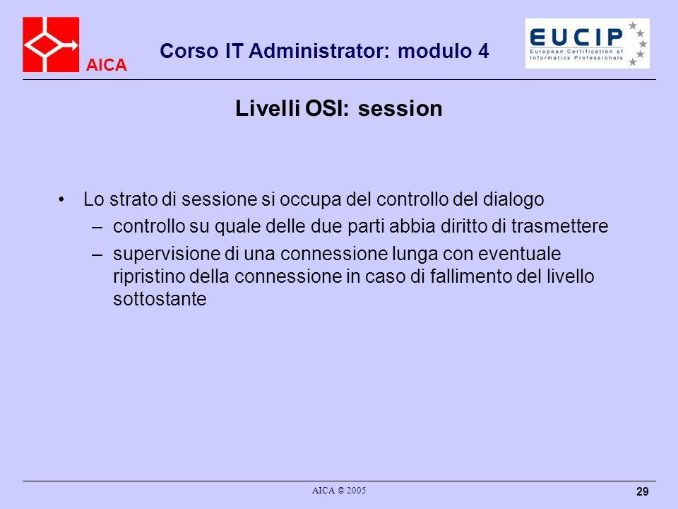 Livelli OSI: sessionLo strato di sessione si occupa del controllo del dialogo. controllo su quale delle due parti abbia diritto di trasmettere.