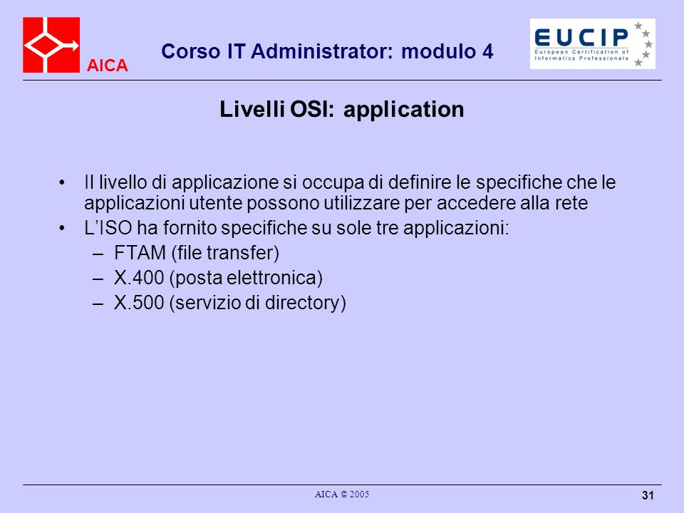 Livelli OSI: application