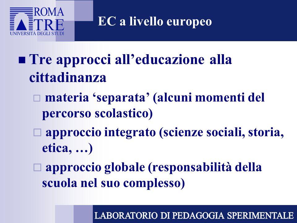 Tre approcci all'educazione alla cittadinanza