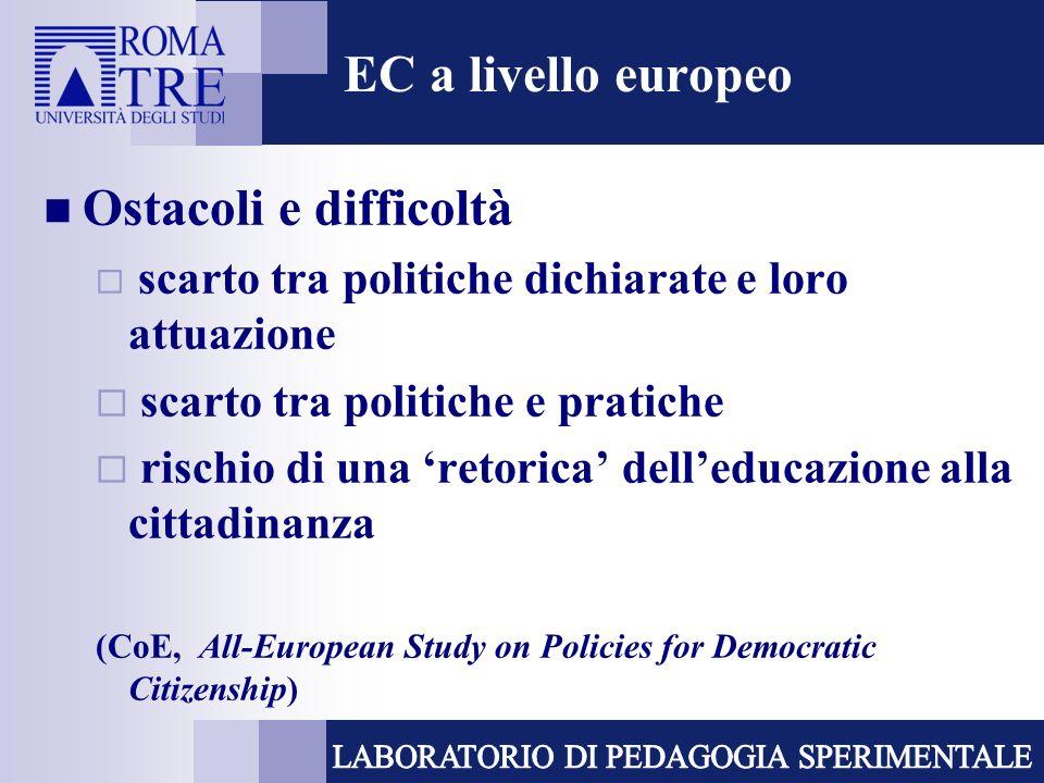 EC a livello europeo Ostacoli e difficoltà