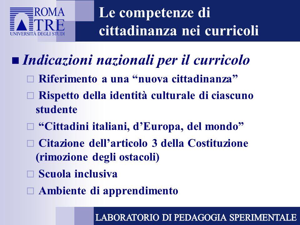 Le competenze di cittadinanza nei curricoli