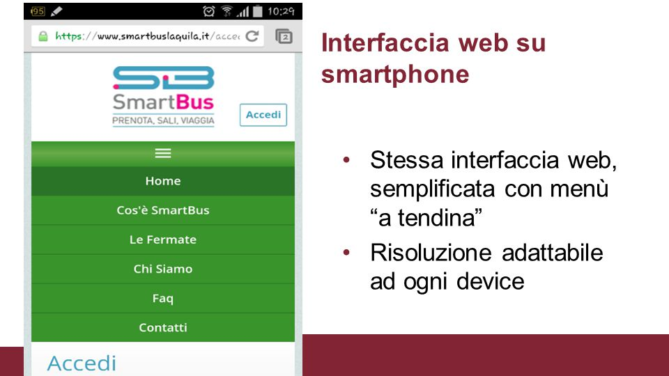 Interfaccia web su smartphone