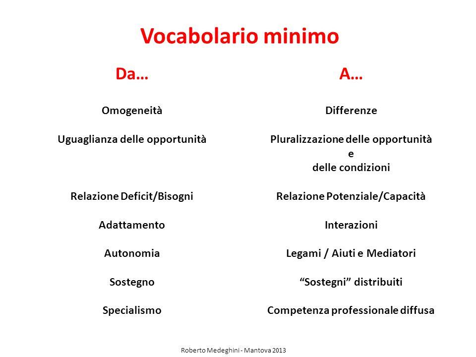 Vocabolario minimo Da… A… Omogeneità Uguaglianza delle opportunità