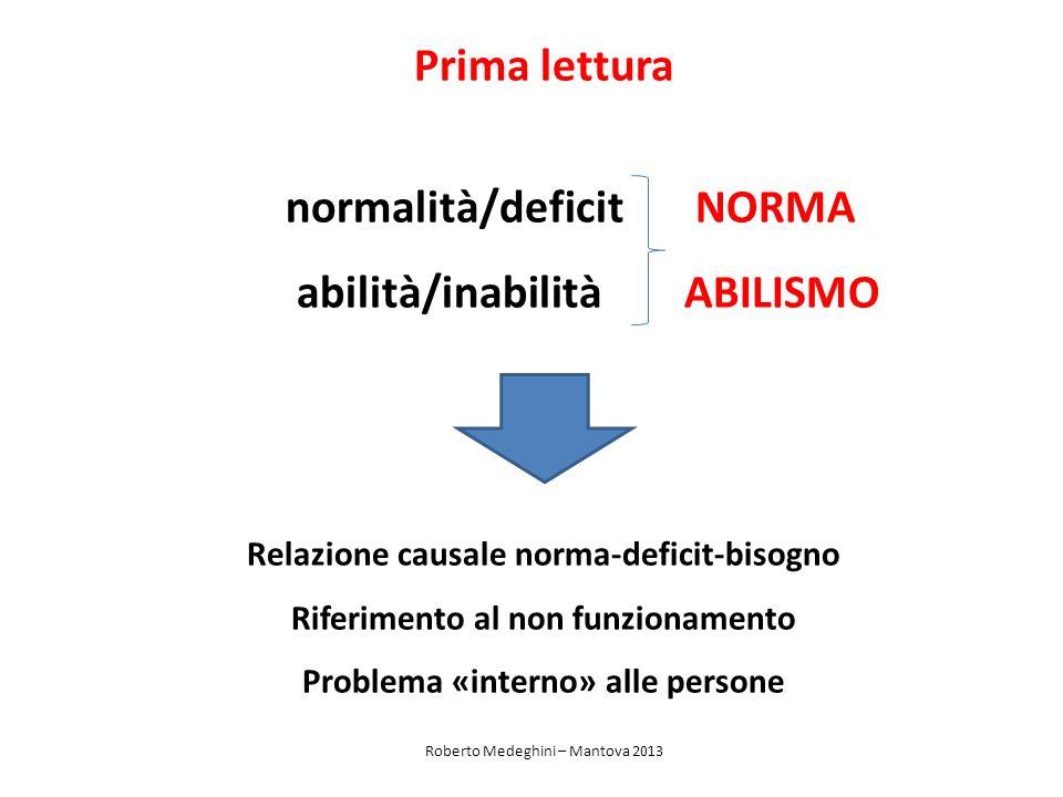 normalità/deficit NORMA abilità/inabilità ABILISMO