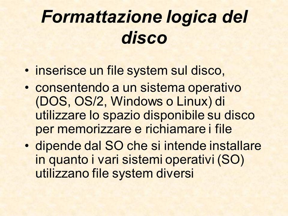 Formattazione logica del disco