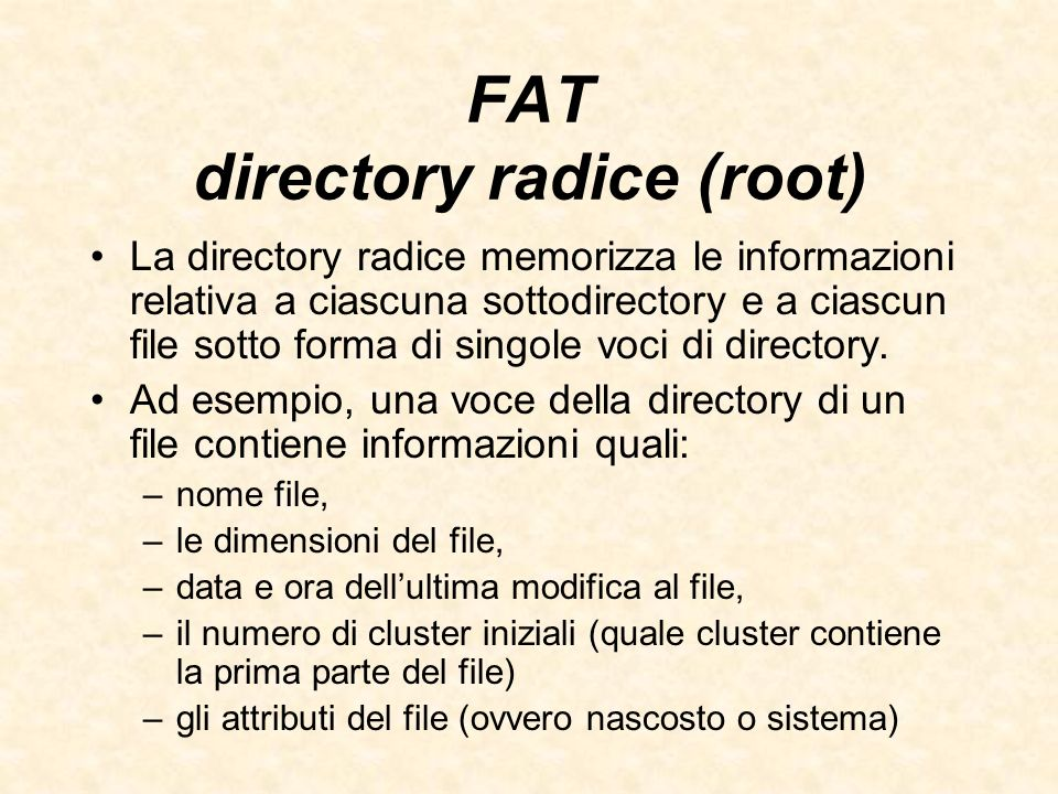 FAT directory radice (root)