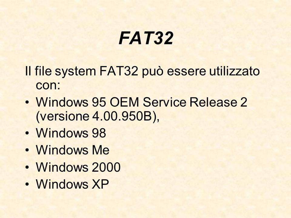 FAT32 Il file system FAT32 può essere utilizzato con: