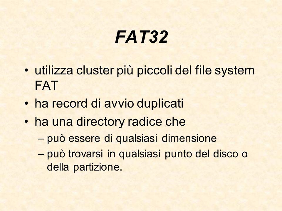 FAT32 utilizza cluster più piccoli del file system FAT