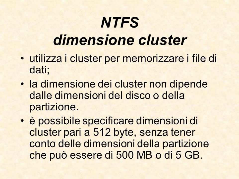 NTFS dimensione cluster