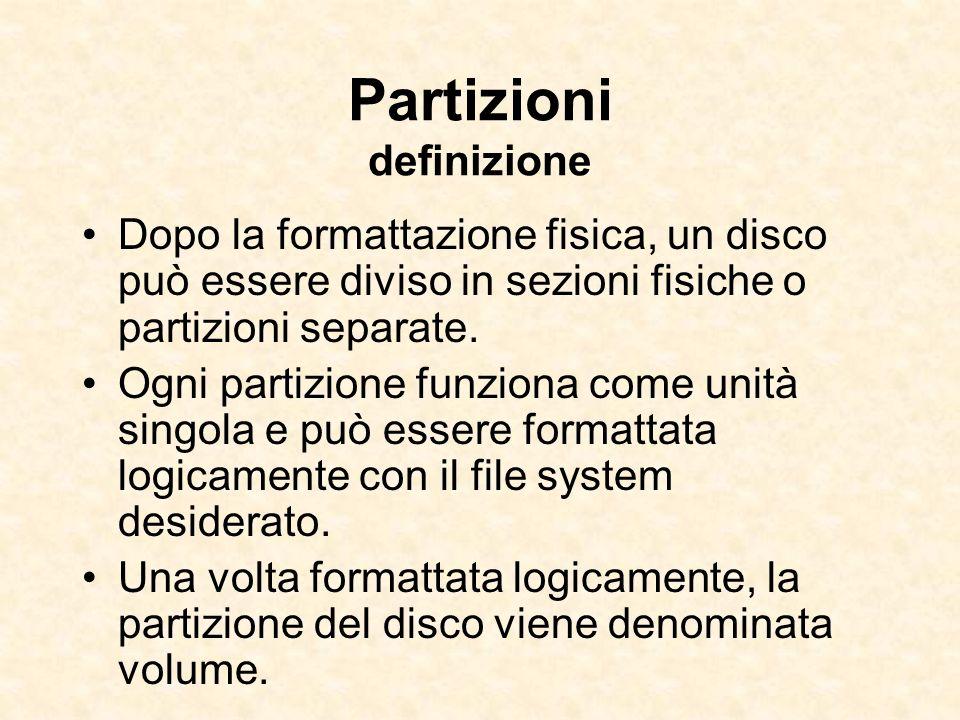 Partizioni definizione